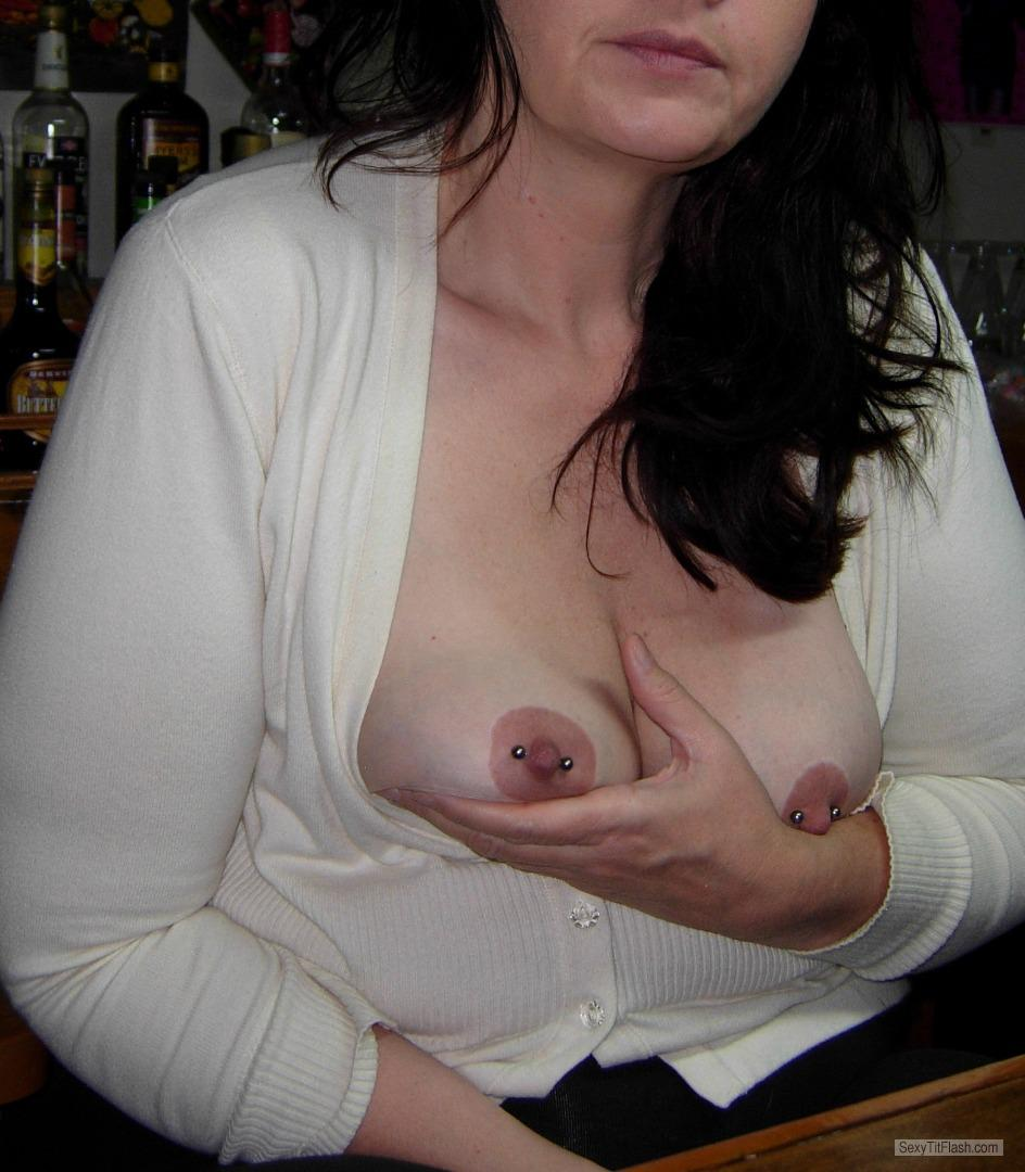 Tit Flash: My Medium Tits - PiercedMilf from United StatesPierced Nipples